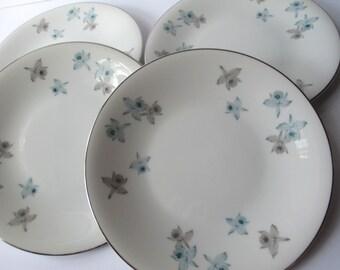 Vintage Harmony House Blue Orchid Salad Plates Set of Four