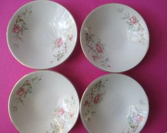 Vintage Dessert Bowls Knowles Romance Pink Rose Set of Four