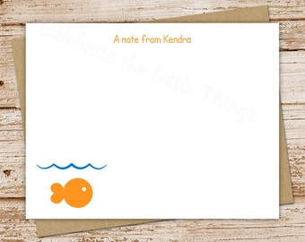 fish note cards, notecards - set of 12 - flat personalized stationery, stationary - under the sea, fishie, goldfish - choose color & font