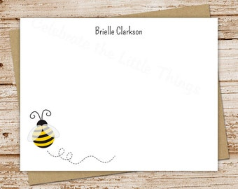 bumble bee note cards, notecards - set of 12 - flat personalized stationery, stationary - teacher gift