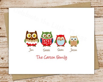 owl family personalized stationery, stationary - set of 8 - folded note cards, notecards - choose owls