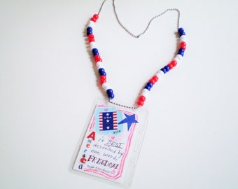 Art Badge Necklace, Patriotic ID Badge Lanyard, Red White Blue ID Badge Holder, Ball Chain Art Necklace, Teen Art Necklace