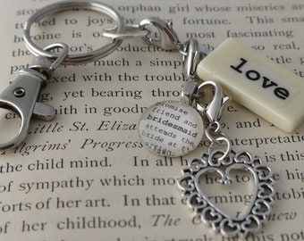 LOVE Key Chain Personalized Customized cousin, daughter, faith, family, friend, god daughter, godmother, granddaughter, grandmother, mother