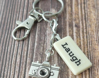 LAUGH Key Chain Personalized Customized Domino for best friend, cousin, daughter, family, friend, mother, niece,  sister, sister-in-law