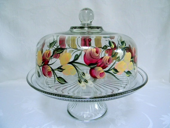 Cake dish , glass Cake dish, covered cake dish, cake dish with Roses, painted cake dish, punch bowl