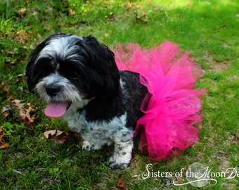 """Dog or Pet tutu Super cute Shocking Pink 6"""" tulle clothing halloween costume couture fluffy  -- SistersEnchanted"""