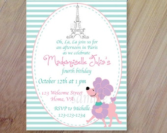 Paris Birthday Invitations, Personalized Birthday Invitations, Set of 10, Professionally Printed