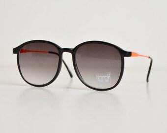 Vintage 90s Round Black & Orange Sunglasses Shades