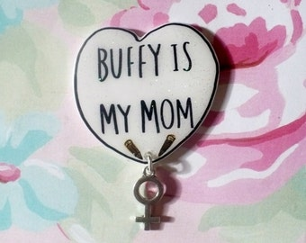 Buffy lapel pin, buffy pin, Buffy the vampire slayer, by a jewelry brooch  black, white, Holographic glitter, sassy, tumblr, 90's jewelry,
