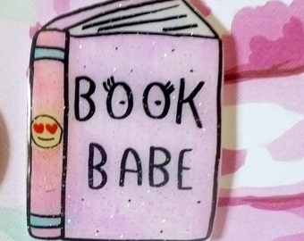 Book Babe Brooch, book pin, cutie pie brooch, emoji pin