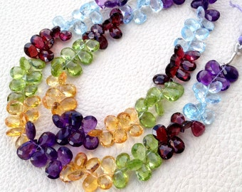 Brand New, Full 7 Inch Strand, Multi Natural Stones Faceted Pear Shape Briolettes, 8-9mm Aprx.Super,Very Fine Quality.
