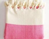 Sherbet Handwoven Hot Pink Beach Towel