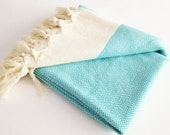 Aqua Handwoven Blue Beach Towel