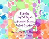 Bubbles Digital Paper, 12 Printable Party Papers, Instant Digital Download