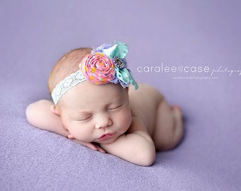 Sweetie Pie- lavender aqua and pink polka dot rosette and bow headband