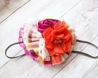 Summer Sunsets- satin rosette, ruffle and chiffon flower headband