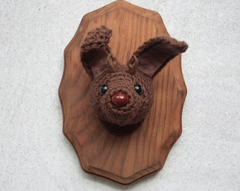 Faux Taxidermy All Brown Jackalope on Stained Wood Plaque
