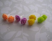 Brightly. post earrings . plastic . girls jewelry . peach lavender yellow lime