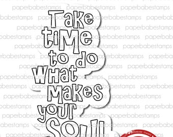 You Quote 'Happy Soul' - Paperbabe Stamps - Red Rubber Cling Mounted Stamp - Typography for Mixed Media, Art Journal and Paper Crafts