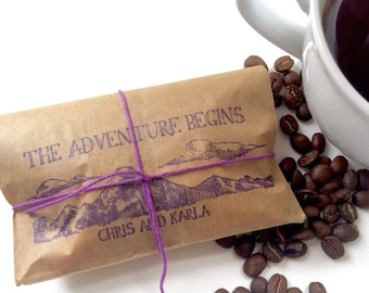Reserved // Custom Adventure Begins Wedding Favors. Coffee wedding favors for a rustic summer wedding. Set of 60