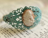 Cuff Bracelet, Madonna of the Streets, Madonnina, Blue and Pink, Filigree Bracelet, Religious Jewelry, Virgin Mary, Catholic Jewelry