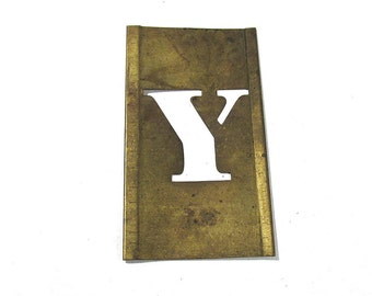 "Brass Stencil Letter Y VINTAGE Brass 1"" Letter Y Scrapbooking Altered Art Assemblage Mixed Media Collage Supplies 1"" Stencil Letter Y (L57)"