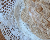25 vintage doilies french crochet doilies