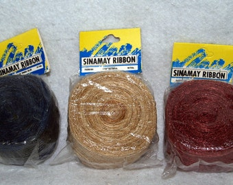 Lot of 3 Sinamay Ribbon Unopened Packages - Your Choice of Colors