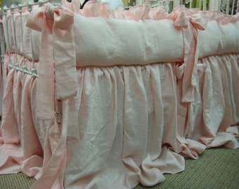 Nursery Bedding in Cameo Pink Washed Linen-Ruffled Crib Bumpers-Storybook Crib Skirt-Made to Order Classic Ruffled Washed Linen Crib Bedding