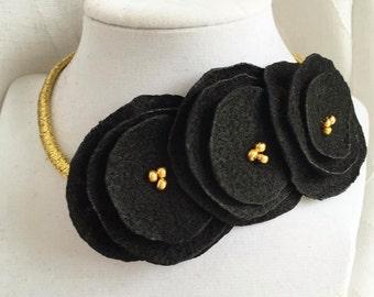 Black and GOLD poppy flower headband, floral crown SEC Missouri Tigers MIZZOU