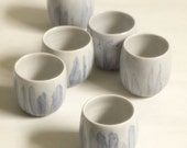 Set of 6 handmade porcelain cups.  Perfect for wine...