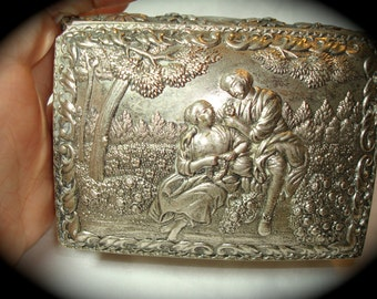 1960s Made in Japan Silver Tone Ornate Jewelry Box.