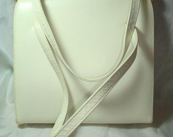 1960s Vintage New White Leather Canadian Handbag.