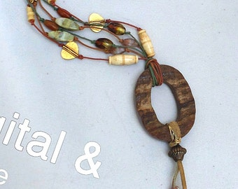 Boho chic multi strand cord beaded long necklace ceramic african beads