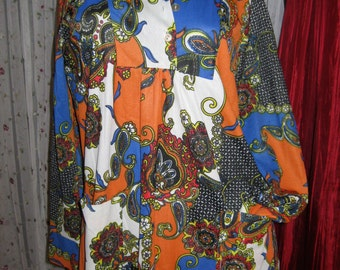 1960s Hippie Vintage top  Womens size small