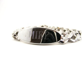 Vintage Men's ID Bracelet, Stainless Steel, Mike, Engraved, Chain Link, Swank, Heavy Duty, Silver