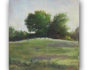 Fine Art Canvas Painting - Landscape Painting - Plein Air Painting - Canvas Painting with Trees - Green, lavender