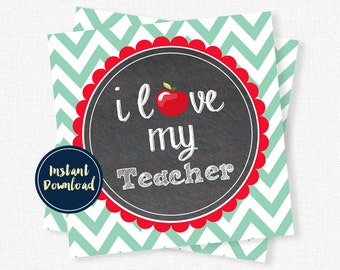 Teacher Gift Tags, Back to School Teacher Tag, Teacher Appreciation, Love my Teacher Tag, Red and Mint Teacher Printable INSTANT DOWNLOAD