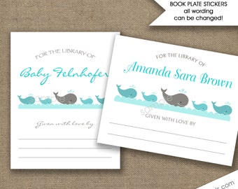 Whales book plate Labels, whale bookplates, whale baby shower bookplate stickers, neutral gender baby shower bookplates, personalized