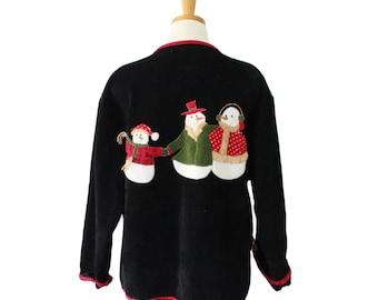 Vintage 80s Velvet SNOWMAN Sweatshirt - Black Cardigan - Ugly Christmas Jumper - Women Men XL