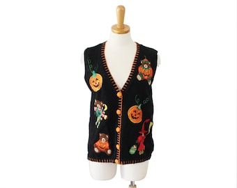 Vtg 90s Halloween Sweater Vest - Women Medium - Busy Bears Pumpkin - Basic Editions