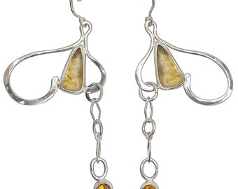 Citrine and Sterling Silver Dangle Earrings,  ecitg2595
