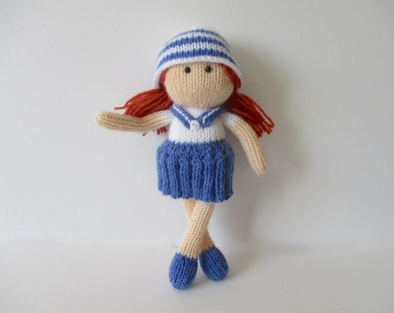 Knitting Pattern For Sailor Doll : Sally Sailor toy doll knitting patterns from fluffandfuzz ...