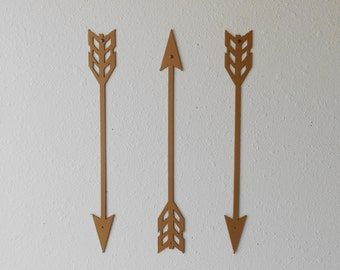 Arrows / Gold / Metal Art / Wall Decor / Set of Three / Home Decor / Arrow head / Archery /  Several sizes