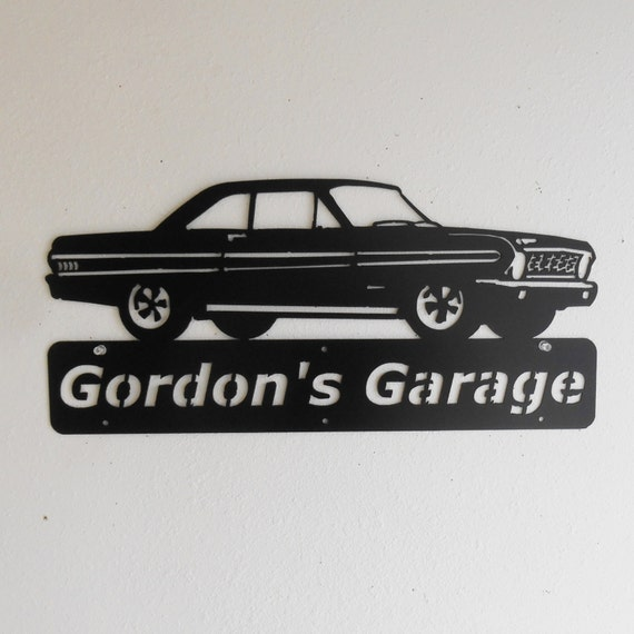 1964 Ford Falcon Personalized Man Cave Classic Sprint Garage Sign Satin Black