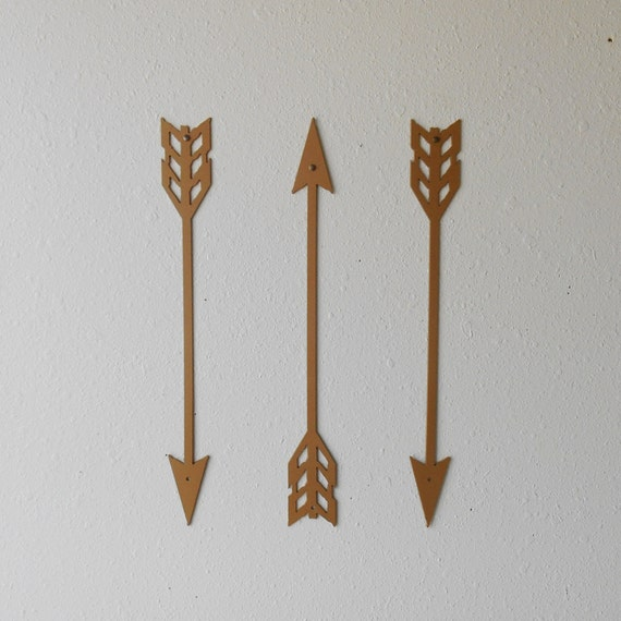 Gold Arrow Wall Decor : Arrows gold metal art wall decor set of three home