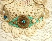 Birds Nest Necklace-Rustic Lace Filigree Necklace-Bird Jewelry