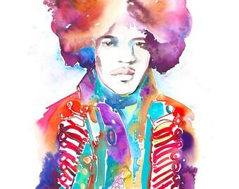 Jimi Hendrix Painting, Jimi Hendrix Art, Watercolour Painting, Watercolor Portrait,  Jimi Henrix illustration, Original Watercolor
