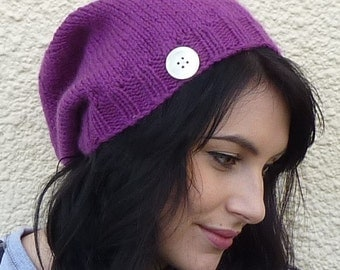 SLOUCH BEANIE . Ladies. Very soft  Merino wool  / Camel  blend . ' Plum Pudding'. Knitted....ready to ship.