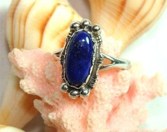 Vintage NAVAJO Handmade Blue LAPIS Ring Sz 9 1/2